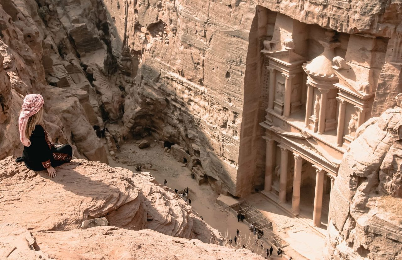Highlights Jordanien Aussicht The Treasury Petra Jordanien