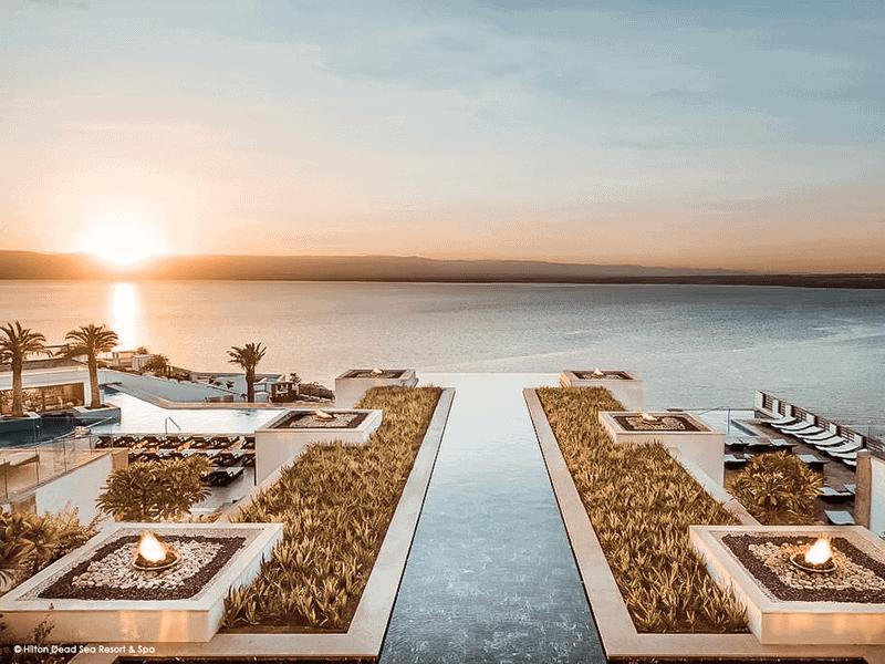 Sonnenuntergang Hilton Dead Sea Resort Jordanien