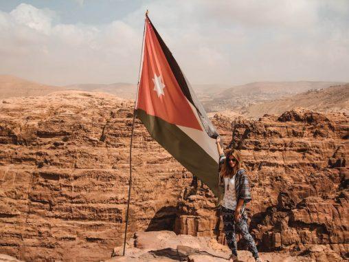 Jordanien Flagge High Places of Sacrifice Petra