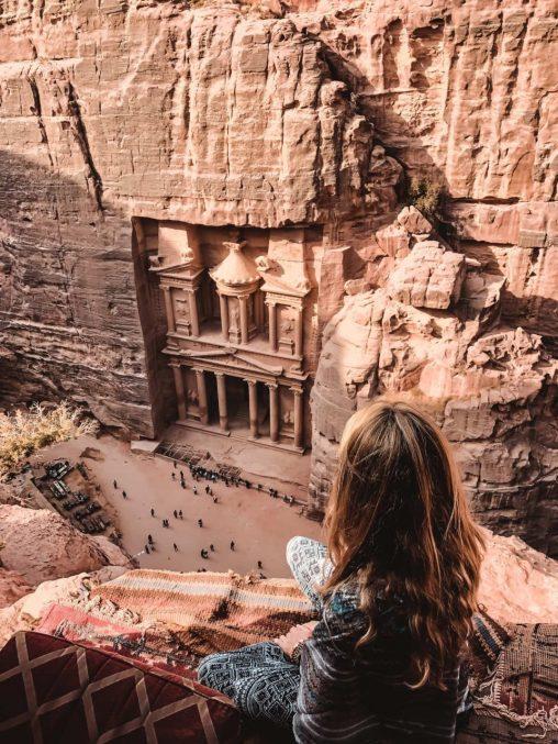 Sehenswürdigkeiten Jordanien Ausblick von oben auf das Schatzhaus