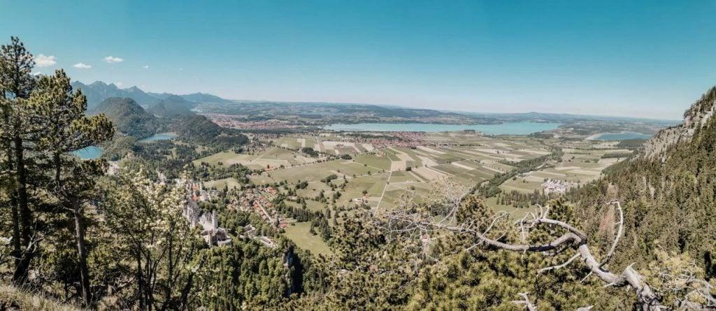 Wanderung Schloss Neuschwanstein Panoramablick Wanderung chloss Neuschwanstein und Seenwelt