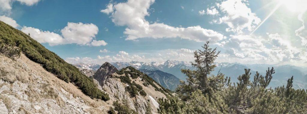 wanderung zum gaisalpsee Ausblick Allgäuer Alpen vom Gipfel des Rubihorns