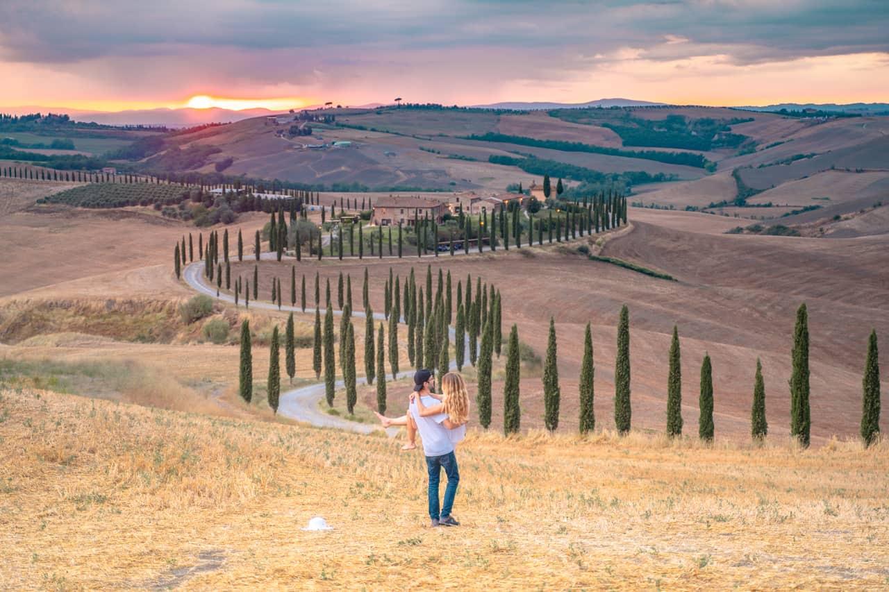 italien roadtrip sonnenuntergang toskana